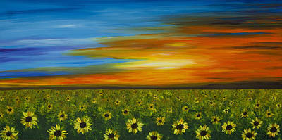 Sunflower Field Painting - Sunflower Sunset - Flower Art By Sharon Cummings by Sharon Cummings