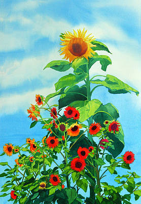 Sunflowers Painting - Sunflowers 2014 by Mary Helmreich
