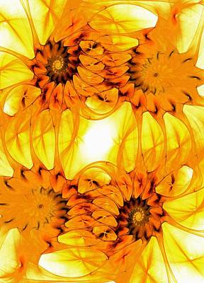 Happy Digital Art - Sunflowers by Anastasiya Malakhova