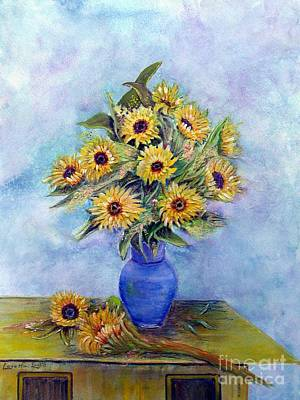 Uplifting Drawing - Sunflowers And Blue Vase by Loretta Luglio