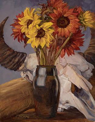 Sunflowers And Buffalo Skull Print by Jane Thorpe