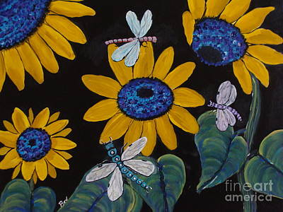 Sunflowers And Dragonflys-painting Print by Beverly Livingstone