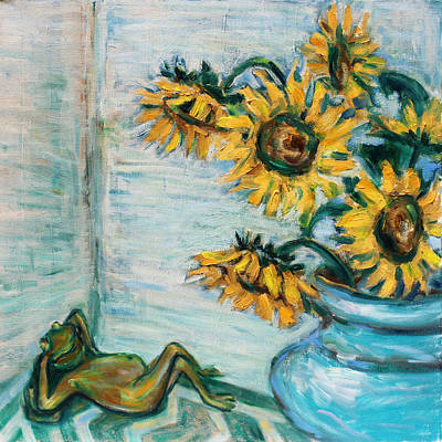 Blue Painting - Sunflowers And Frog by Xueling Zou
