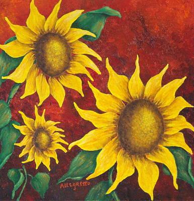 Symbolic Mixed Media - Sunflowers At Sunset by Pamela Allegretto
