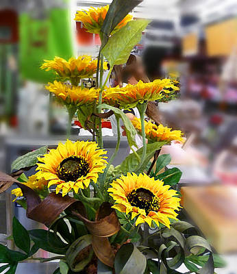 Digital Sunflower Photograph - Sunflowers At The Market Florence Italy by Irina Sztukowski