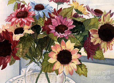 Sunflower Watercolor Painting - Sunflowers by Barbara Jewell