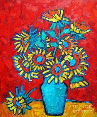Sunflowers Bouquet Print by Ana Maria Edulescu