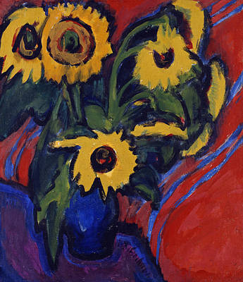 Sunflowers Painting - Sunflowers by Ernst Ludwig Kirchner