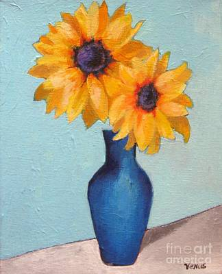 Painting - Sunflowers In A Blue Vase by Venus