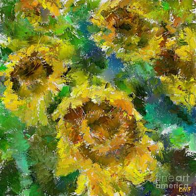 Sunflowers Painting - Sunflowers In Green by Dragica  Micki Fortuna
