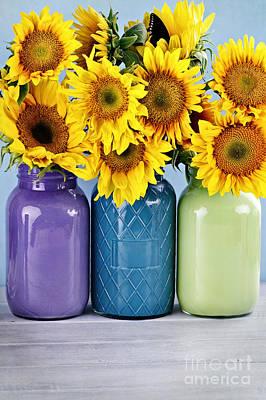 Sunflowers In Painted Mason Jars Print by Stephanie Frey