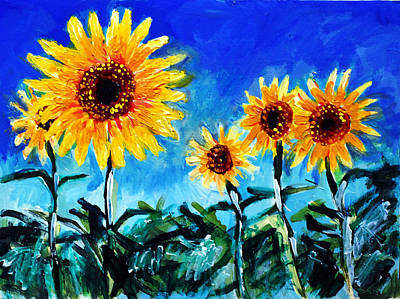 Landscape-like Art Painting - Sunflowers In The Field by Paul Sutcliffe