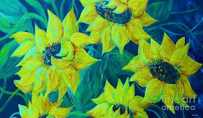 Yellow Flower Painting - Sunflowers In The Early Morning Light by Eloise Schneider