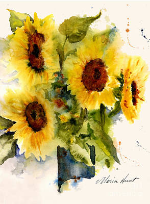 Loose Painting - Sunflowers by Maria Hunt