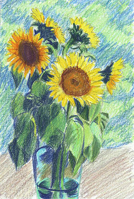 Sunflowers Painting - Sunflowers by Mary Helmreich