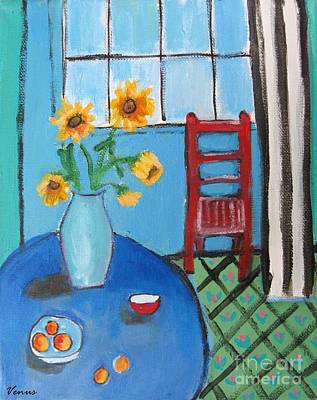 Painting - Sunflowers On A Blue Table by Venus