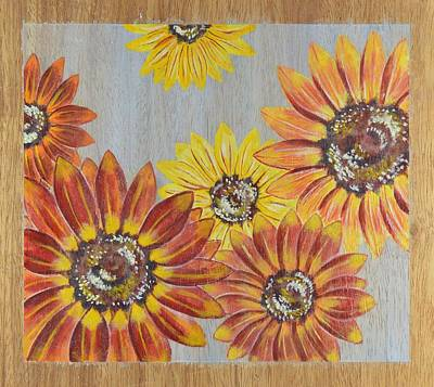 Sunflowers On Wood Panel II Print by Elizabeth Golden