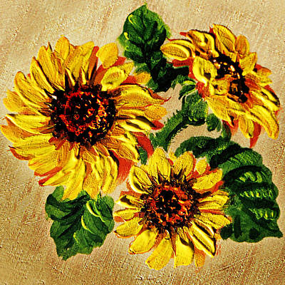 Country Style Painting - Sunflowers On Wooden Board by Irina Sztukowski