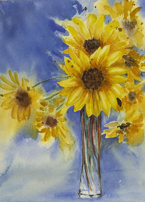 Sunflowers Picked Today Print by Judy Loper