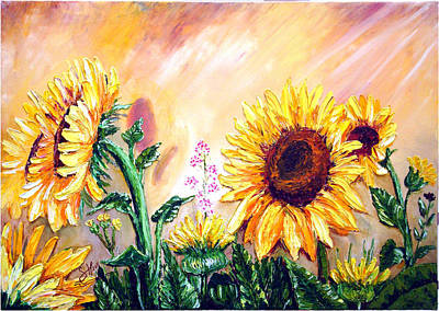 Bob Ross Painting - Sunflowers by Shirwan Ahmed