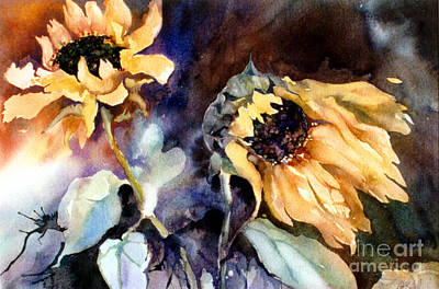 Sunflower Watercolor Painting - Sunflowers Wild And Free I by Kate Bedell