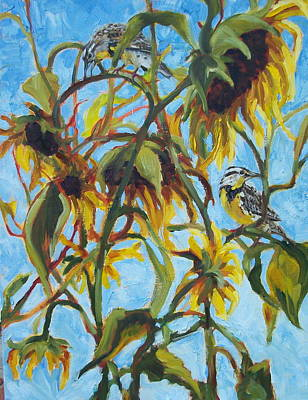 Meadowlark Painting - Sunflowers With Meadolark by Susan Bell