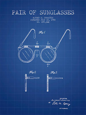 Sunglasses Patent From 1950 - Blueprint Print by Aged Pixel