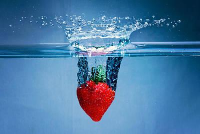 High Speed Photograph - Sunken Strawberry by Vanessa Tellez