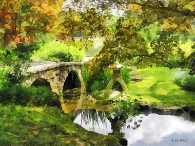 Green Photograph - Sunlit Bridge In Park by Susan Savad