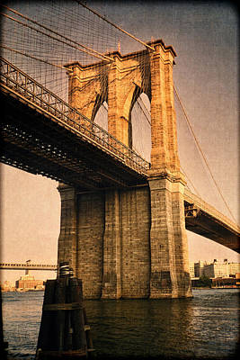 Sunlit Brooklyn Bridge Print by Joann Vitali