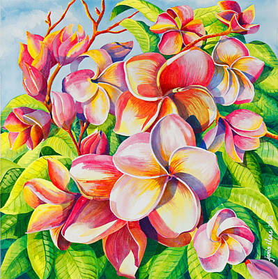 Pinks And Purple Petals Painting - Sunlit Plumeria by Janis Grau