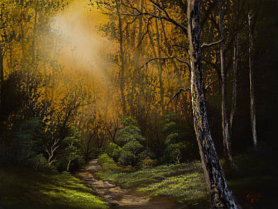 Bob Ross Painting - Sunlit Trail by C Steele