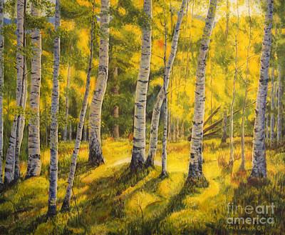 Colorful Contemporary Painting - Sunny Birch by Veikko Suikkanen