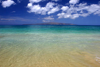 Sunny Blue Beach Makena Maui Hawaii Print by Pierre Leclerc Photography