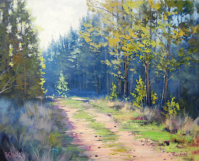 Tree Traditional Art Painting - Sunny Corner Pine Forest by Graham Gercken