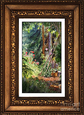 Sunny Garden In Vintage Frame Print by Irina Sztukowski
