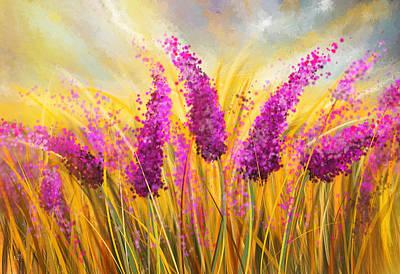 Sunny Lavender Field - Impressionist Print by Lourry Legarde