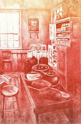 Sunny Old Fashioned Kitchen Original by Kendall Kessler