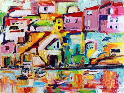 Color Block Painting - Sunny Procida Italy Oil Painting by Ginette Callaway