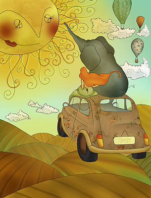 Fiat 500 Digital Art - Sunny Road by Paola Senis