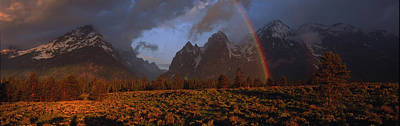 Sunrise & Rainbow Grand Teton National Print by Panoramic Images