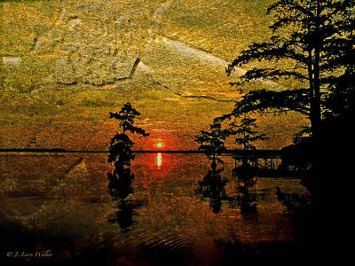 Sunrise And Cypress Abstract Print by J Larry Walker