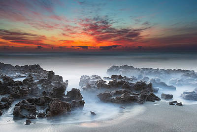 Horizontal Photograph - Sunrise At Blowing Rocks Preserve by Andres Leon