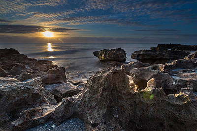 Sunrise At Coral Cove Park In Jupiter Print by Andres Leon