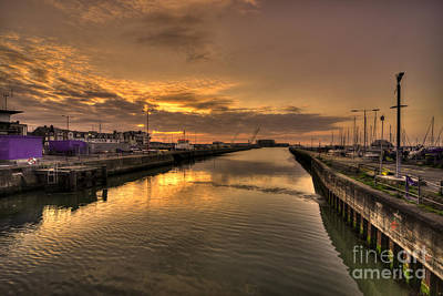 Sunrise At Lowestoft Harbour  Print by Rob Hawkins