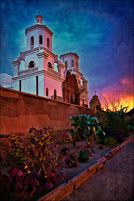 Sunrise At Mission San Javier Del Bac Print by Priscilla Burgers