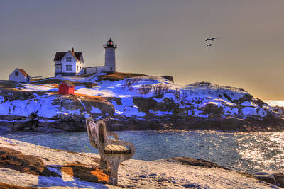 Sunrise At Nubble Lighthouse - Cape Neddick - York Maine Print by Joann Vitali