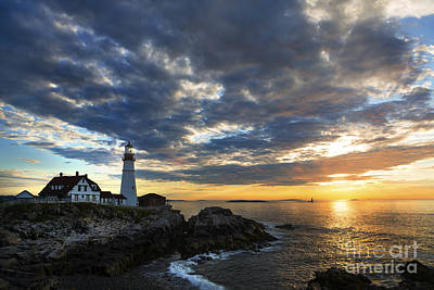 Sunrise At Portland Head Light Print by Diane Diederich
