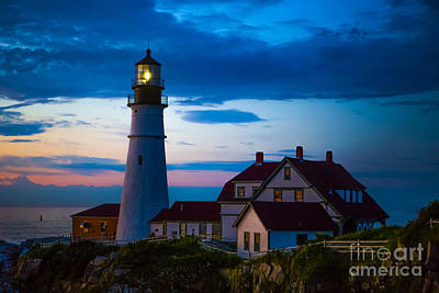 Sunrise At Portland Head Lighthouse Print by Diane Diederich