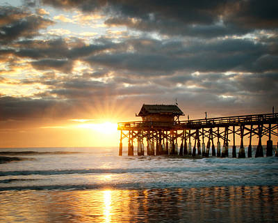 Sunrise At The Cocoa Beach Pier Print by Vicki Jauron